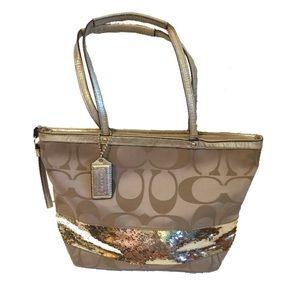 Coach | Signature khaki gold sequin purse